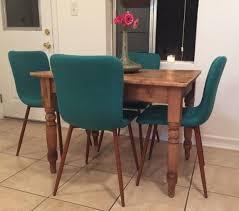 mid century 4 pc fabric dining chairs linen ergonomic wood leg teal kitchen cvsfurniture