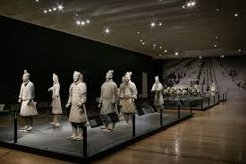 installation view of qin terracotta warriors and replicas of bronze chariots ht of warriors 184 195 cm ht of chariots 106 cm 152 cm ca