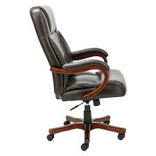 full image for wood trim leather office chair leather office chair with fixed arms and walnut