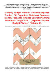Monthly Budget Planning Pdf Ebook Monthly Budget Planner Weekly Expense Tracker