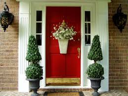 Decorations:Simple Decoration Red Front Door Ideas With Gold Door Handle  Ideas Sweet Red Front