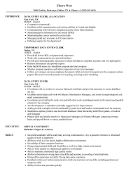 Data Entry Resume Clerk Sample Archaicawful Templates With No