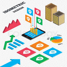 Isometric Design Graph And Pie Chart Stock Vector