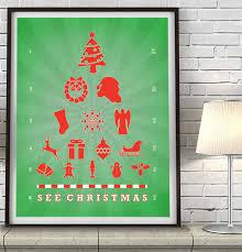 See Christmas Eye Chart Art Print Poster Gift Parody Art