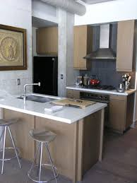 Example of a trendy kitchen design in Toronto with flat-panel cabinets,  light wood