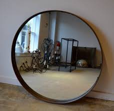 industrial round metal band mirror at stdibs