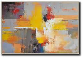 large abstract painting horizontal palette knife contemporary art modern abstract wall art yellow grey red black etc