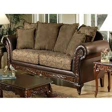 sofa with wood trim traditional living room sofa set w carved wood trim brown leather sofa