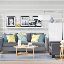 grey and yellow family living room