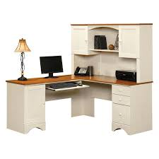 Sauder Harbor View Corner Computer Desk with Hutch - Antiqued White |  Hayneedle