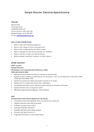 Entry Level Resume Template Sample for Apprentice Electrician ...