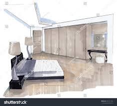 Interior Sketch Design Bedroom Marker Sketching Stock Illustration  436131739   Shutterstock
