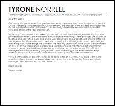 Cover Letter Online Online Marketing Manager Cover Letter Sample Cover Letter