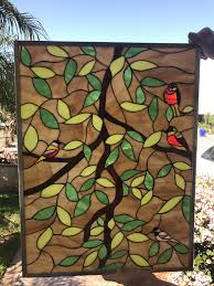 gorgeous leaded stained glass magnolia leaves birds window panel