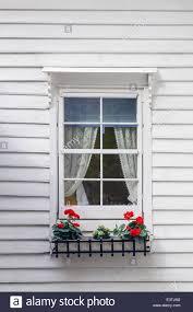 Holzfassade Mit Einem Fenster Mit Roten Geranien In Norwegen