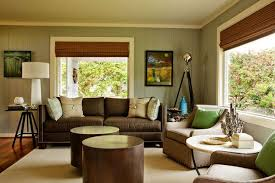 Green Walls And Brown Living Room