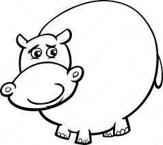 Hippopotamus Cartoon Coloring Page Stock Vector Izakowski 53516481