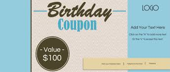 custom birthday coupons customize online print at home printable birthday coupons