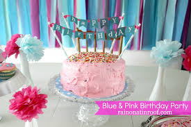 Diy Birthday Decorations A Stylish Blue And Pink Birthday Party