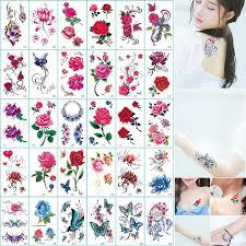 временные татуировки стикер боди арт бабочка цветок роза татуировки стикер для