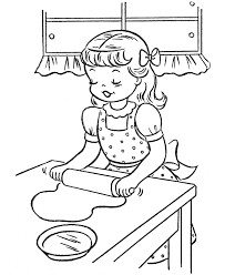 Small Picture Thanksgiving Dinner Coloring Page Sheets Girl making cookies