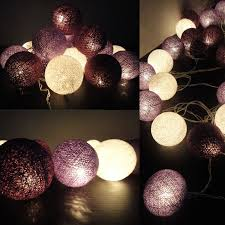 Paper Mache String Lights Purple String Lights Cotton Balls Fairy Lights Bedroom Home