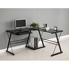 desk for office. walker edison soreno 3piece corner desk black with glass for office i