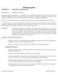 Resume For Leasing Agent With No Experience Leasing Consultant
