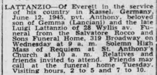 Pvt. Anthony Lattanzio obituary (son of Gemma (Lanciani) and Luigi  Lattanzio - Newspapers.com