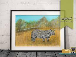 Rhinoceros Original Acrylic Painting Instant Download Art