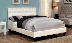 Pearl white leatherette upholstered bed frame - CA7795F