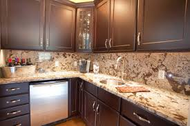 countertops granite marble: l shape kitchen design with mahogany wood kitchen cabinet