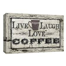 love laugh coffee by canvas wall art