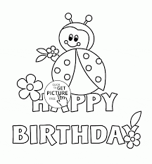 Happy Birthday Card With Ladybug Coloring