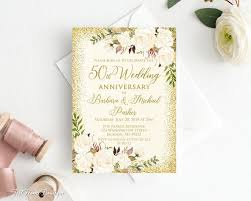 50th Anniversary Party Invitations 50th Anniversary Invitation Golden Wedding Party Invitation 50th Wedding Anniversary Invitation Ivory And Gold W704