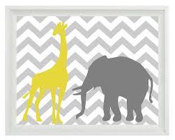 zoom on elephant and giraffe nursery wall art with elephant giraffe chevron nursery wall art print yellow gray
