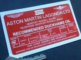 Aston Martin Lagonda Ltd Recommended Duckhams Oil Under Bonnet Sticker Dbv8 Dbs Db6 Etc 110mm