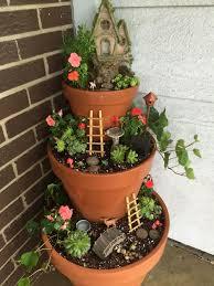 3 pots on porch garden