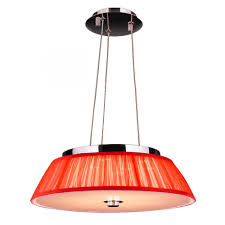 alice collection 6 light led chrome finish with red string empire shade pendant 16 d