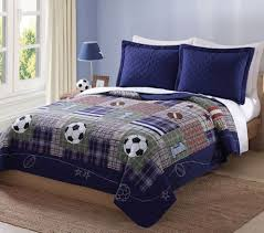 34 best Sports Bedroom images on Pinterest | Boy bedding, Quilt ... & Luxury Navy Blue Sports Boys Bedding Twin Full/Queen Cotton Quilt Set  Bedspread Soccer Football Adamdwight.com