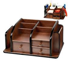 desk pen stand dark brown wooden office desk organizer home desk supplies stationery book holder wooden