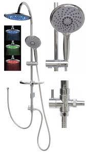 Details Zu Duschset Duschkopf Dusche Led Regendusche Duscharmatur Brausestange 120cm Chrom