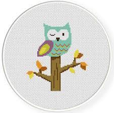Owl Cross Stitch Pattern Unique Winking Owl Cross Stitch Pattern Daily Cross Stitch
