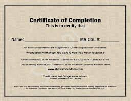 Completion Certificate Sample Sample Ma Csl Ceu Course Completion Certificate