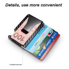 slim carbon fiber credit card holder rfid blocking metal money clip purse wallet ebay