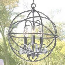 benita 3 light antique black metal globe crystal chandelier free for metal and crystal