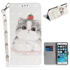 cute tomato cat 3d painted leather wallet phone case for iphone 6s plus 6 plus