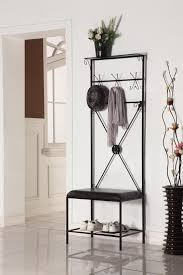 Modern Hall Tree Coat Rack Furniture Black Metal Hall Tree Bench With Black Leather Seat Plus 76