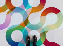 70s retro swirl graphic flooring multicolour feet vinyl