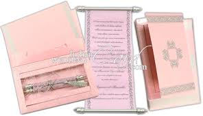 Scroll Birthday Invitations S1062 Pink Color Shimmery Finish Paper Scroll Invitations